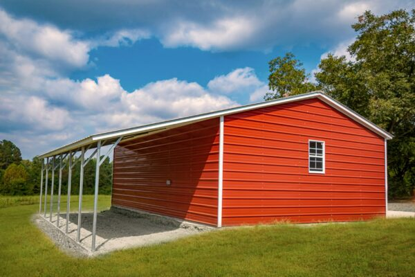 24x30x9 Vertical Roof Double Garage with 12-Ft Lean-To