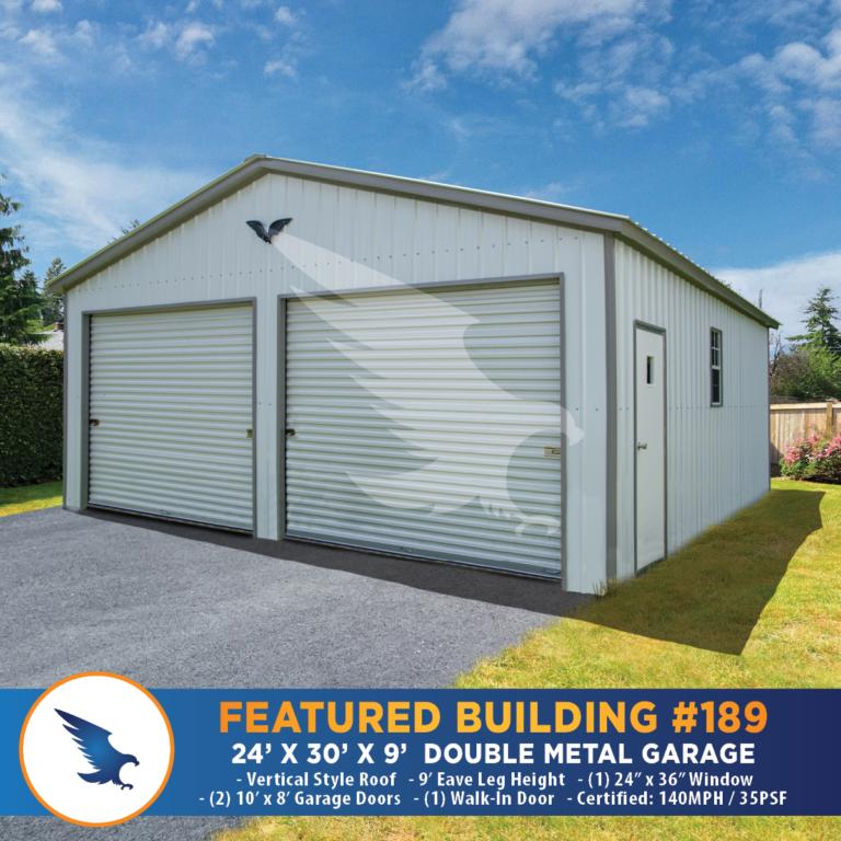 24x30x9 Double Metal Garage